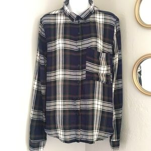 Polly and Esther Plaid Button Down Shirt
